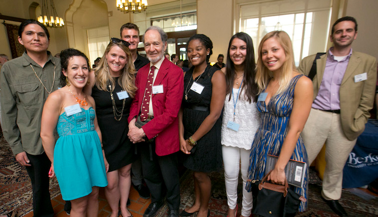 Students at a reception with Jared Diamond