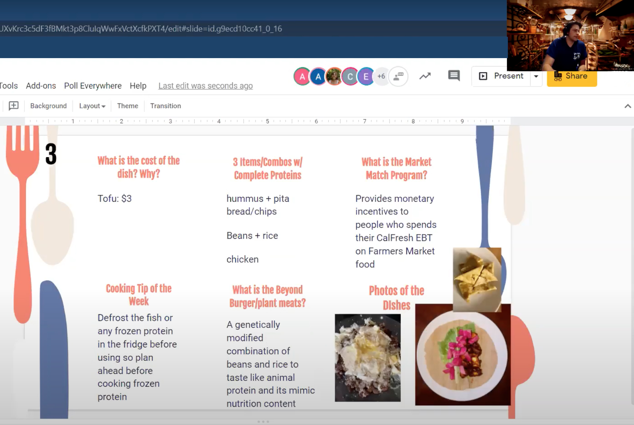 Screenshot of online lesson showing recipes and food images in the class lab