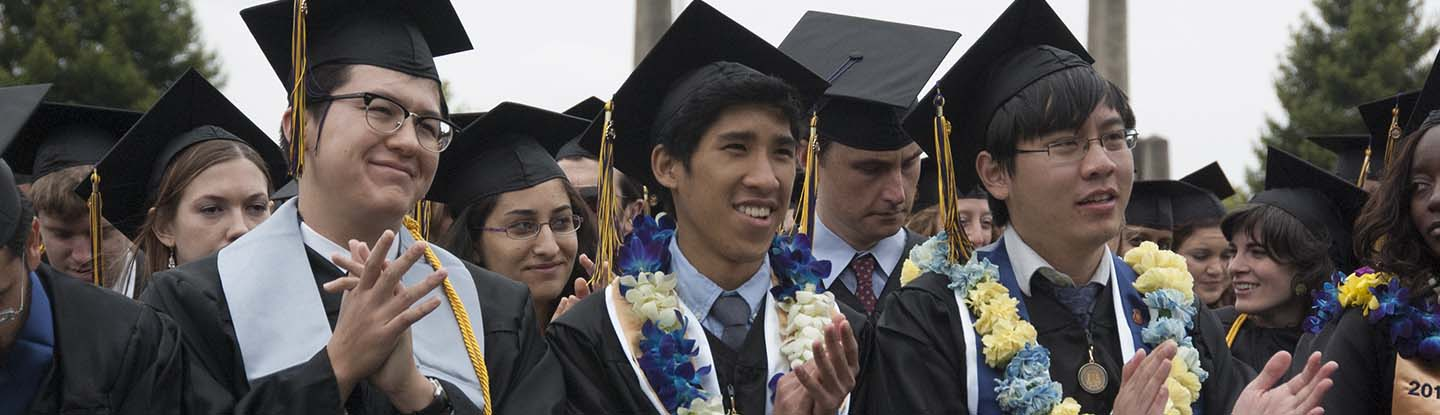 UC Berkeley students at a graduation ceremony.
