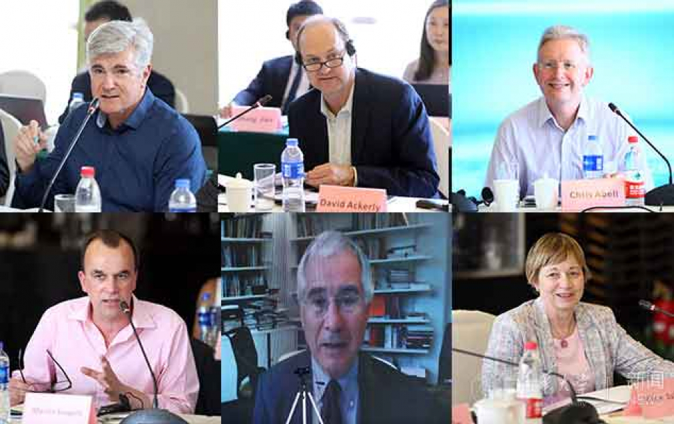 Six panel photo of college administrators at a committee meeting for Global Alliance of Universities on Climate