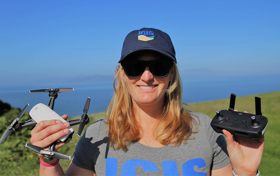 Kelly Easterday holding drone