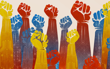 Painting of raised fists.