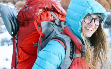 Brooke Maushund with backpacking gear
