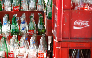 Photo of soda bottles.