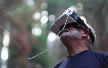 Todd Dawson looking through mask to see what drone sees