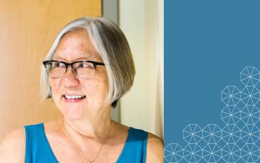Inez Fung headshot on blue background with Berkeley tesselation