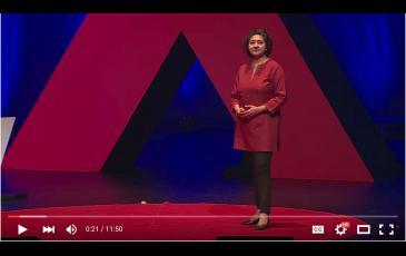 Isha Ray giving a tedX talk in Berkeley