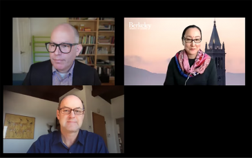 Screenshot of webinar with David Ackerly, Max Auffhammer, and Mio Katayama Owens