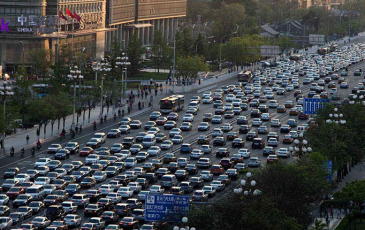 Traffic congestion on a highway in Beijing