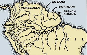 old map of the amazon river
