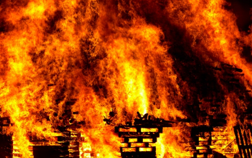 Buildings engulfed in flames