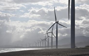 Wind turbines on a beach