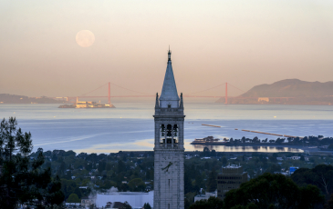 View of campanile with Golden Gate Bridge in background, Moon