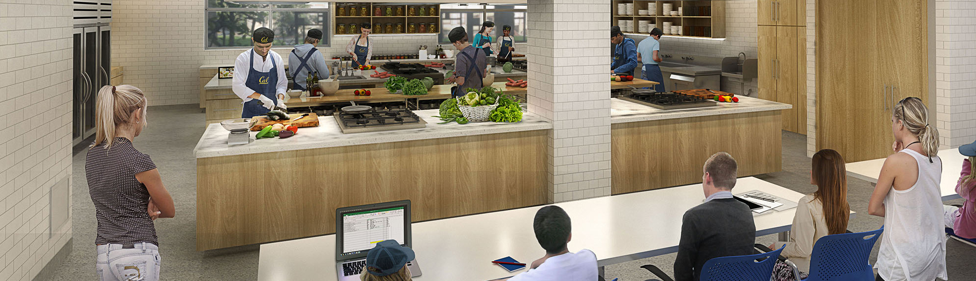 An architectural rendering of the Cal Teaching Kitchen